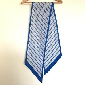 """Blue and White Striped """"Silk"""" Scarf 65x8.5"""